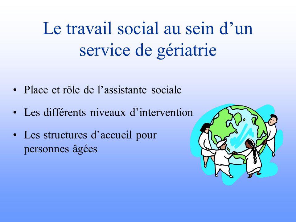 Le travail social au sein d'un service de gériatrie