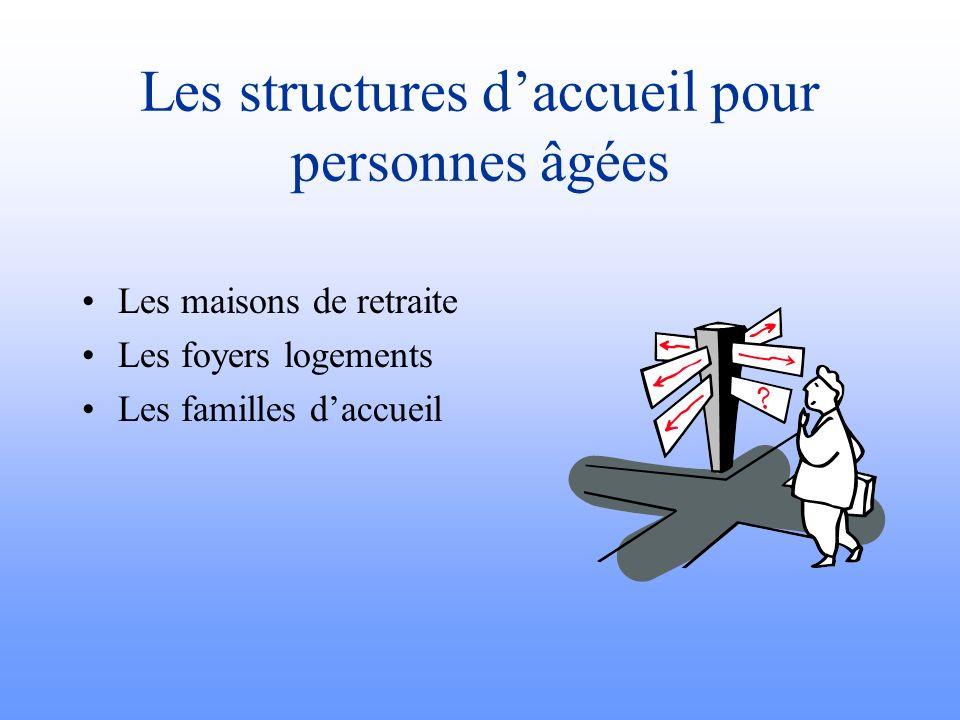 Les structures d'accueil pour personnes âgées