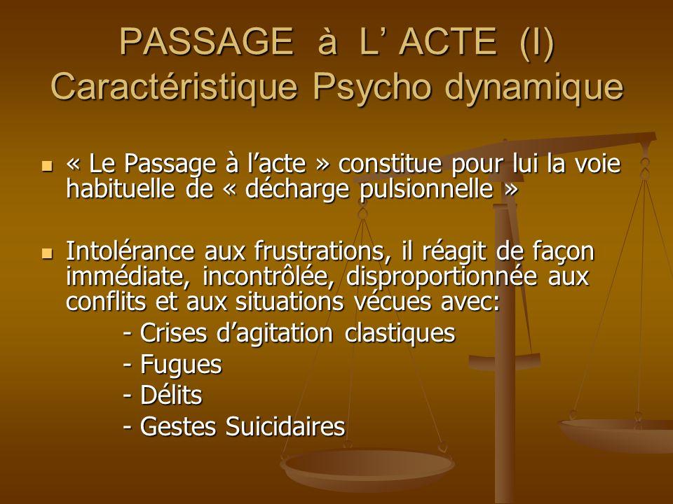 PASSAGE à L' ACTE (I) Caractéristique Psycho dynamique