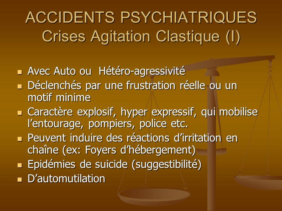 ACCIDENTS PSYCHIATRIQUES Crises Agitation Clastique (I)