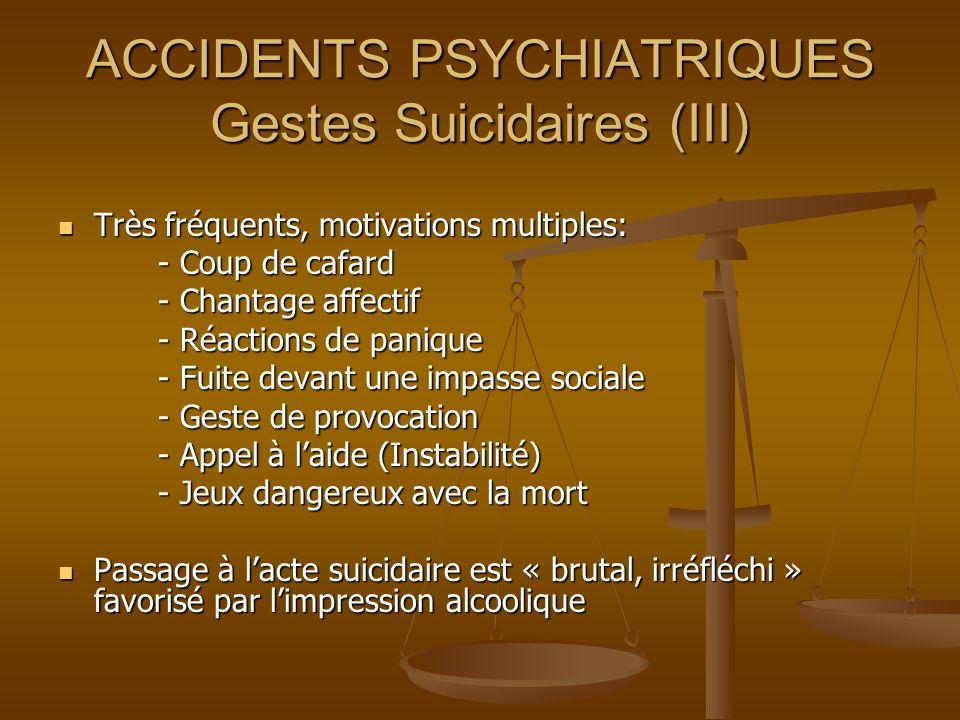ACCIDENTS PSYCHIATRIQUES Gestes Suicidaires (III)