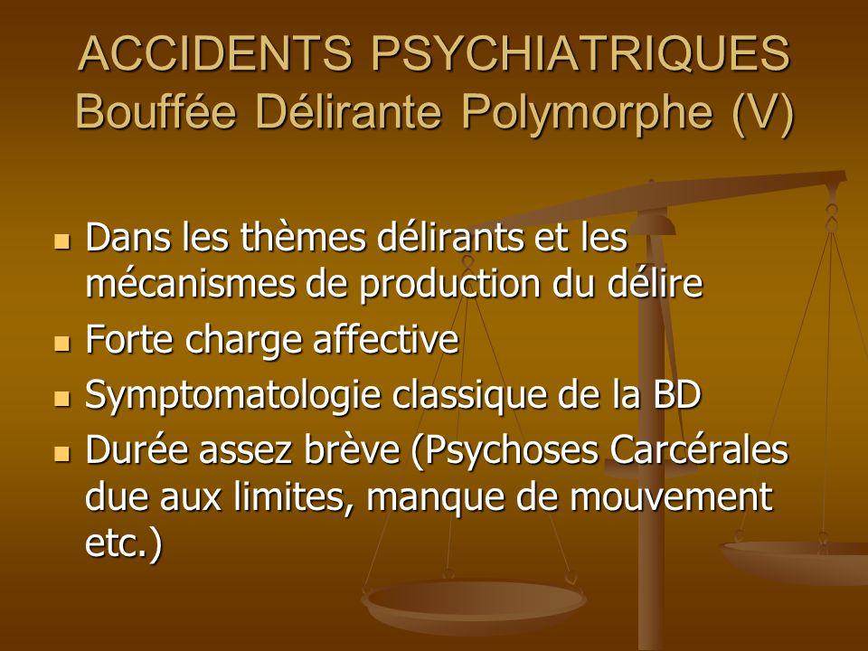 ACCIDENTS PSYCHIATRIQUES Bouffée Délirante Polymorphe (V)