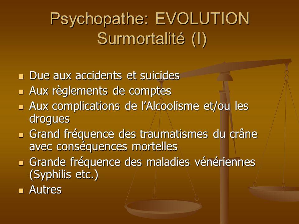 Psychopathe: EVOLUTION Surmortalité (I)