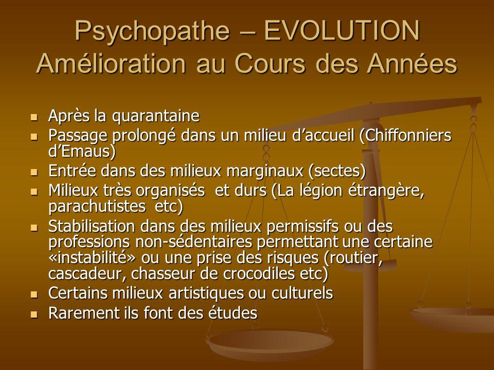 Psychopathe – EVOLUTION Amélioration au Cours des Années