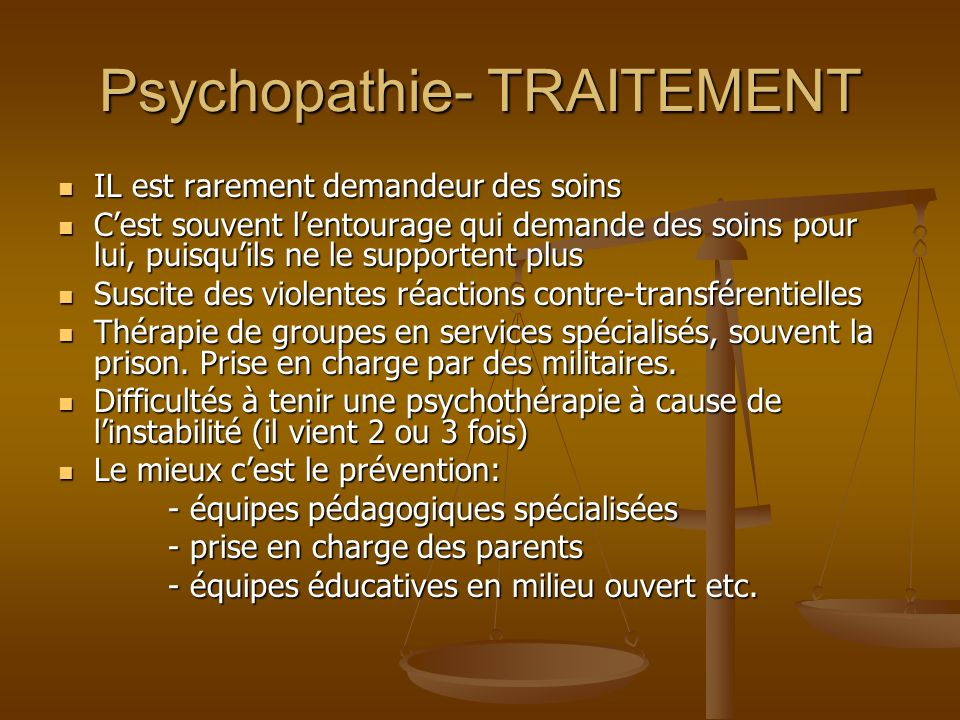 Psychopathie- TRAITEMENT