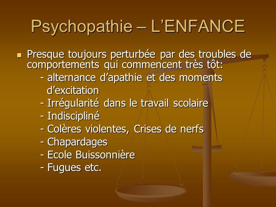 Psychopathie – L'ENFANCE