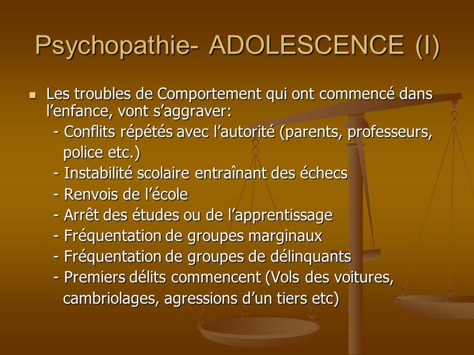 Psychopathie- ADOLESCENCE (I)