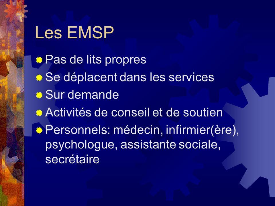 Les EMSP Pas de lits propres Se déplacent dans les services