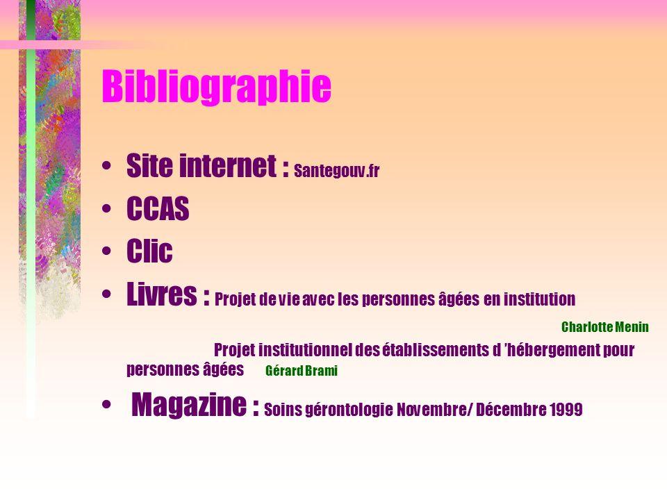 Bibliographie Site internet : Santegouv.fr CCAS Clic