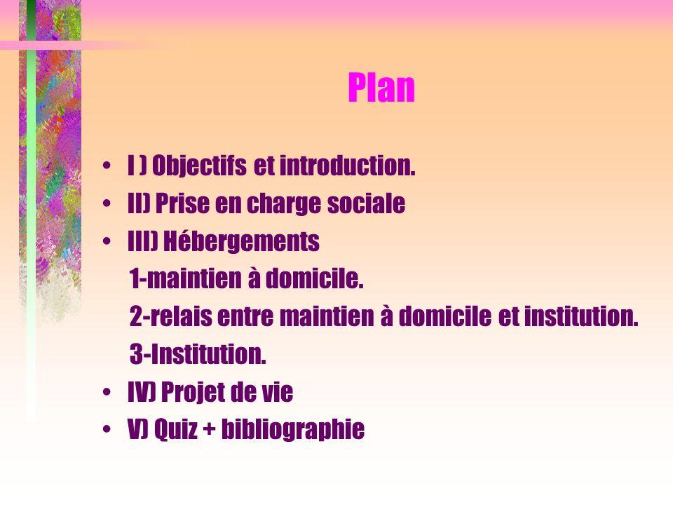 Plan I ) Objectifs et introduction. II) Prise en charge sociale