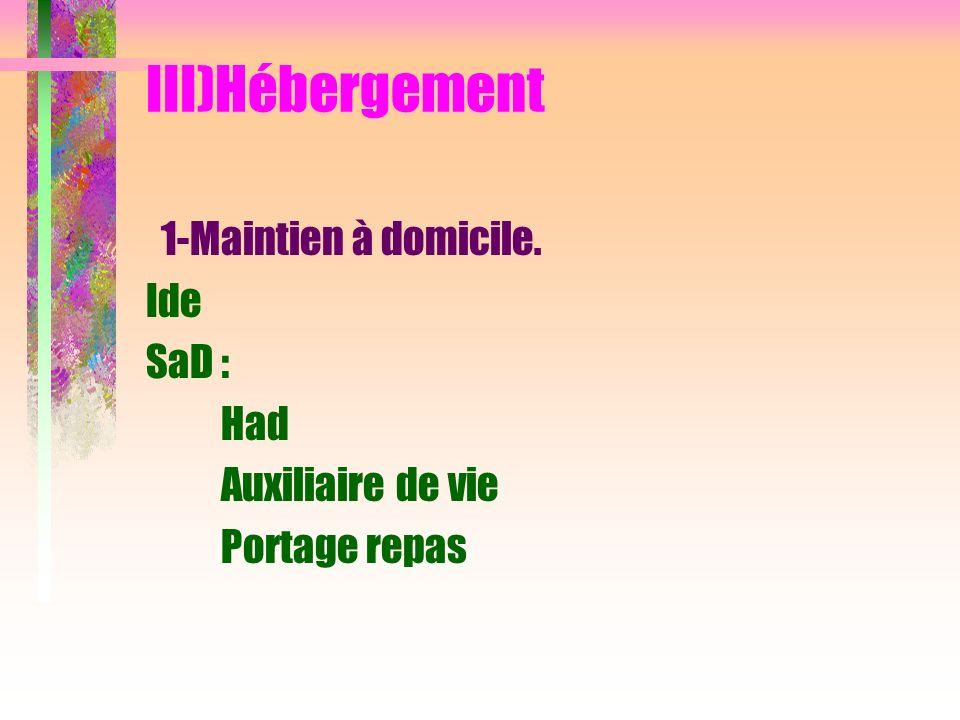 III)Hébergement 1-Maintien à domicile. Ide SaD : Had Auxiliaire de vie