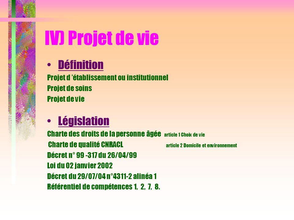 IV) Projet de vie Définition Législation