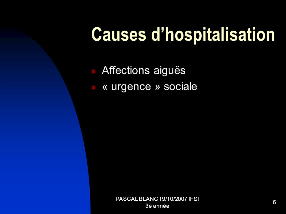 Causes d'hospitalisation