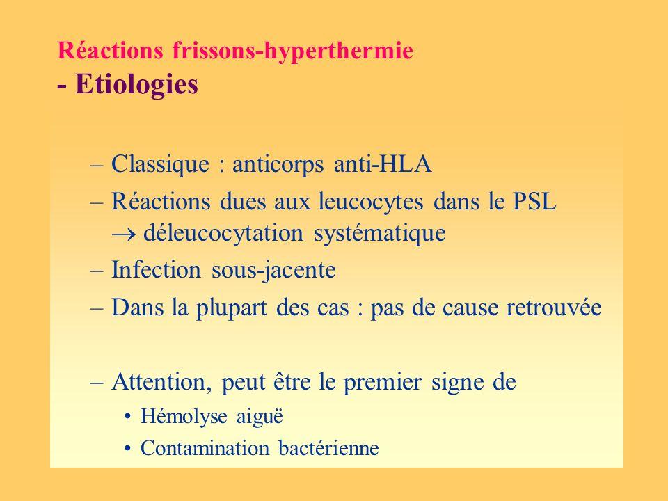 Réactions frissons-hyperthermie - Etiologies