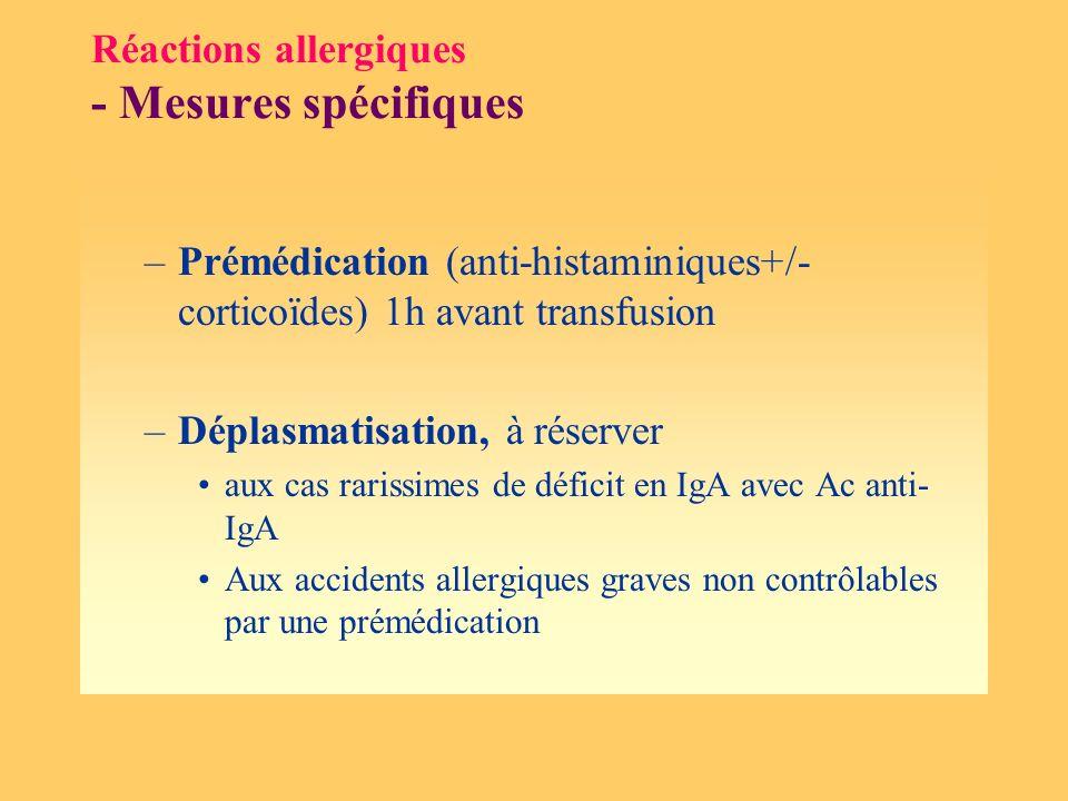 Réactions allergiques - Mesures spécifiques
