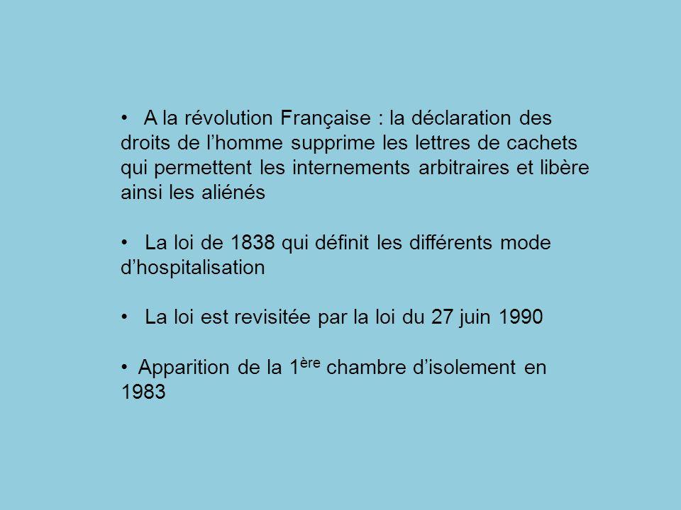 A la révolution Française : la déclaration des droits de l'homme supprime les lettres de cachets qui permettent les internements arbitraires et libère ainsi les aliénés