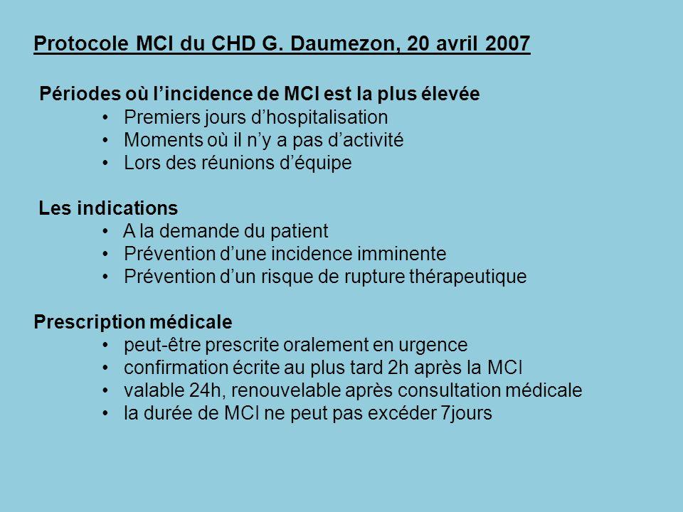 Protocole MCI du CHD G. Daumezon, 20 avril 2007