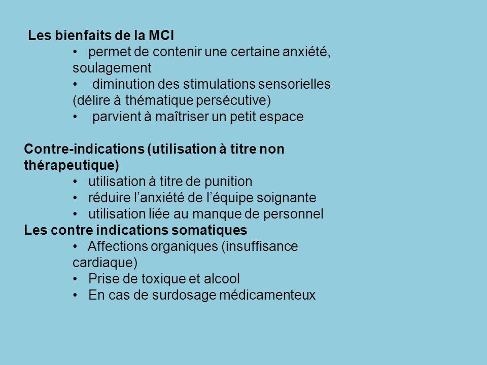 Les bienfaits de la MCI permet de contenir une certaine anxiété, soulagement.