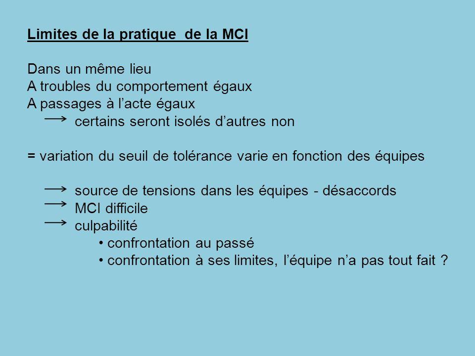 Limites de la pratique de la MCI