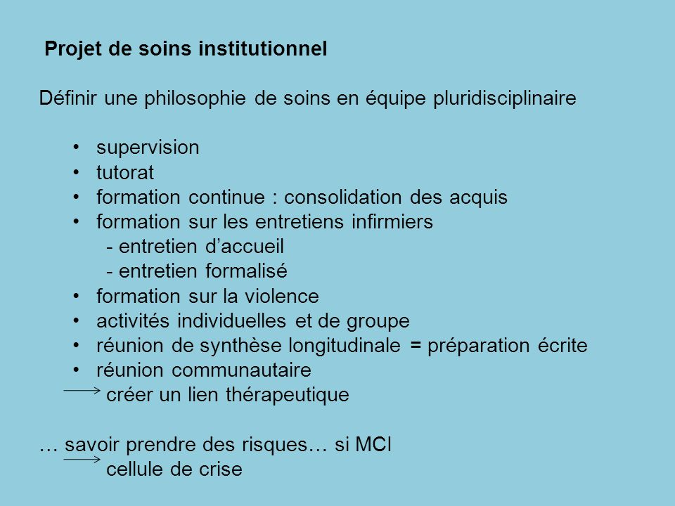 Projet de soins institutionnel