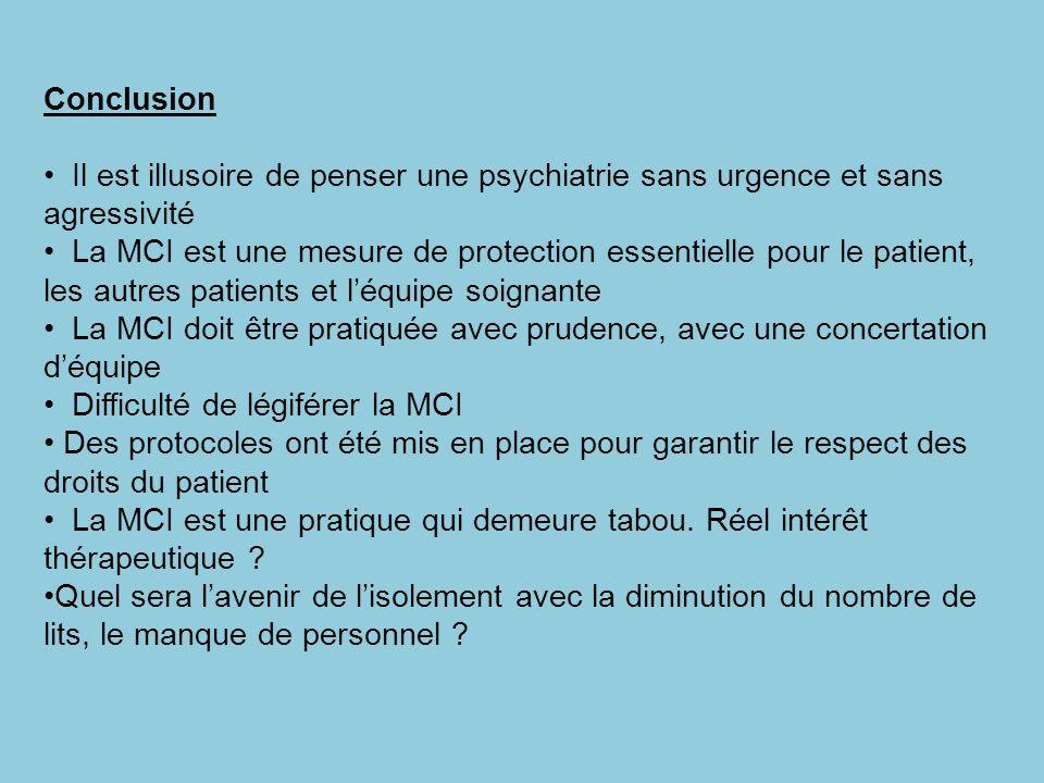 Conclusion Il est illusoire de penser une psychiatrie sans urgence et sans agressivité.