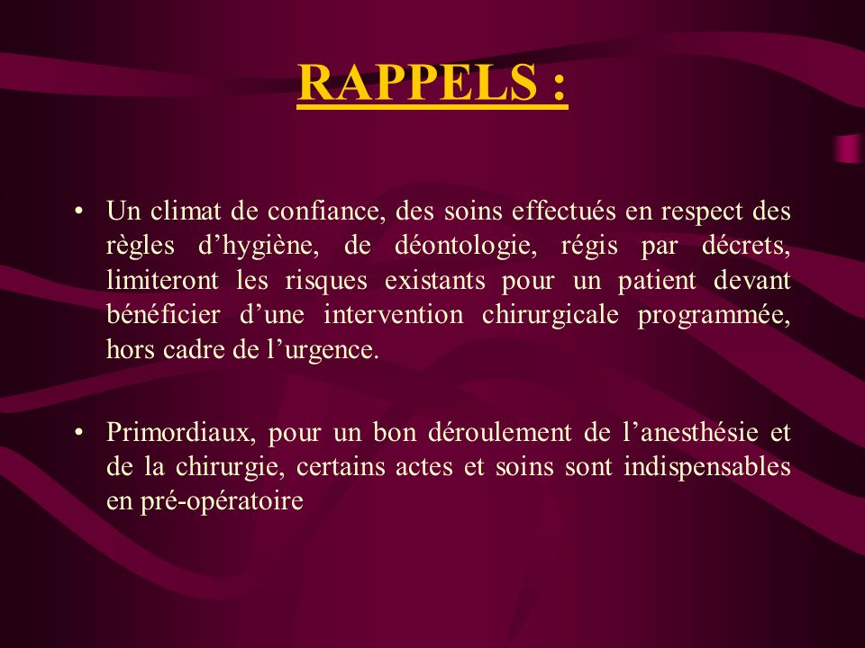 RAPPELS :