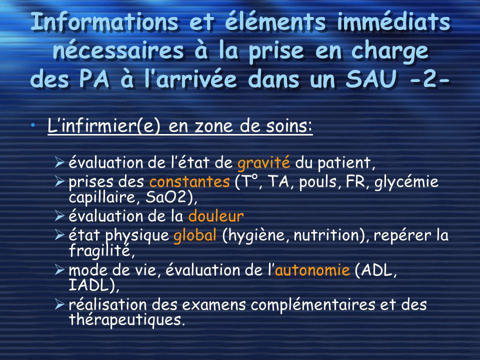 Informations et éléments immédiats nécessaires à la prise en charge des PA à l'arrivée dans un SAU -2-