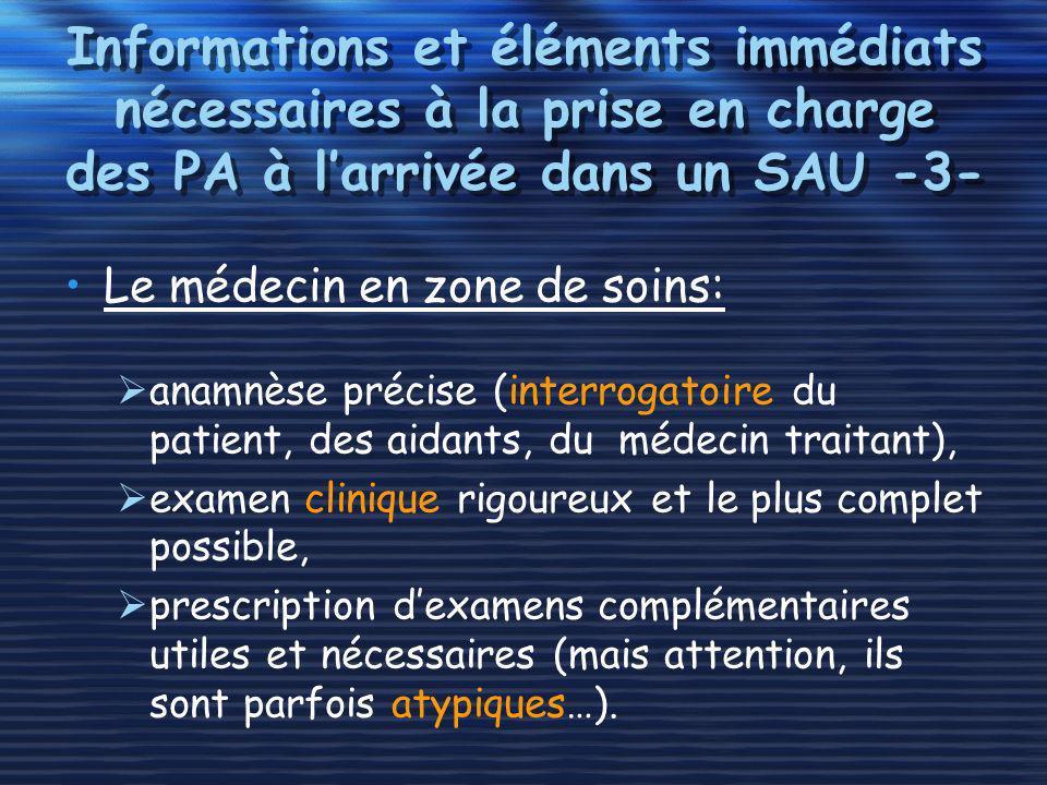 Informations et éléments immédiats nécessaires à la prise en charge des PA à l'arrivée dans un SAU -3-