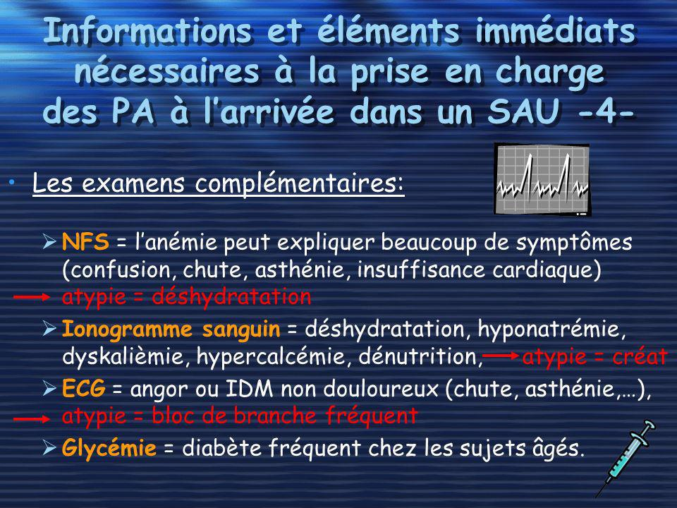 Informations et éléments immédiats nécessaires à la prise en charge des PA à l'arrivée dans un SAU -4-
