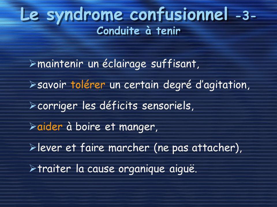 Le syndrome confusionnel -3- Conduite à tenir