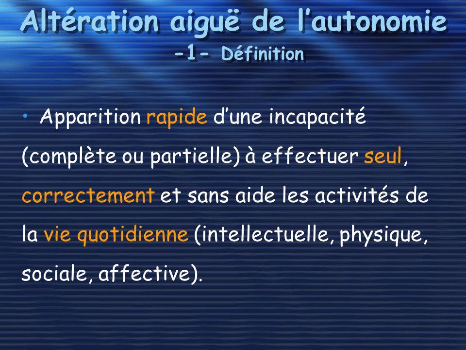 Altération aiguë de l'autonomie -1- Définition