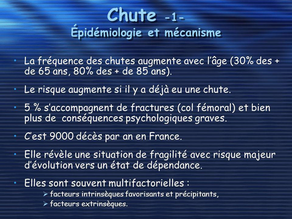 Chute -1- Épidémiologie et mécanisme