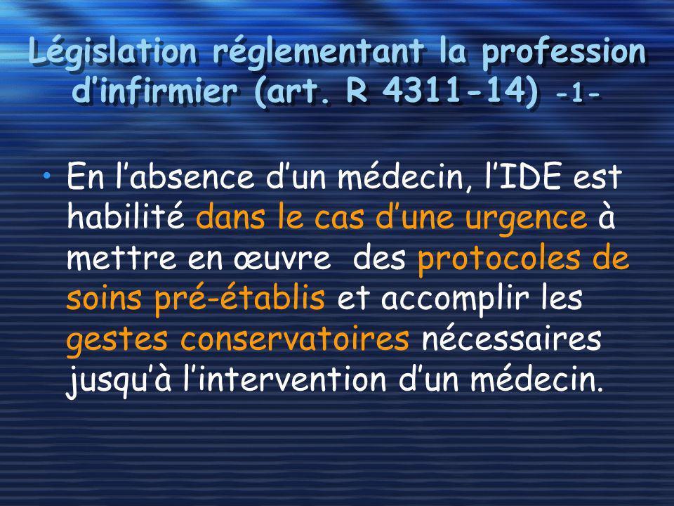 Législation réglementant la profession d'infirmier (art. R 4311-14) -1-