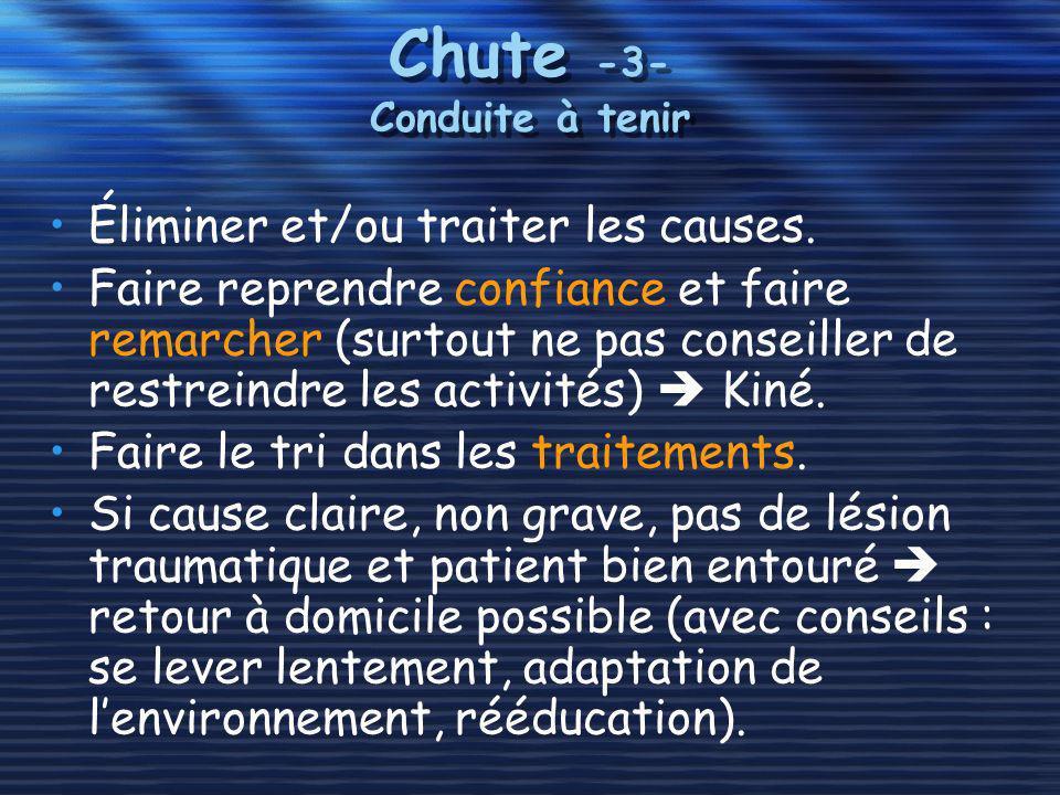 Chute -3- Conduite à tenir