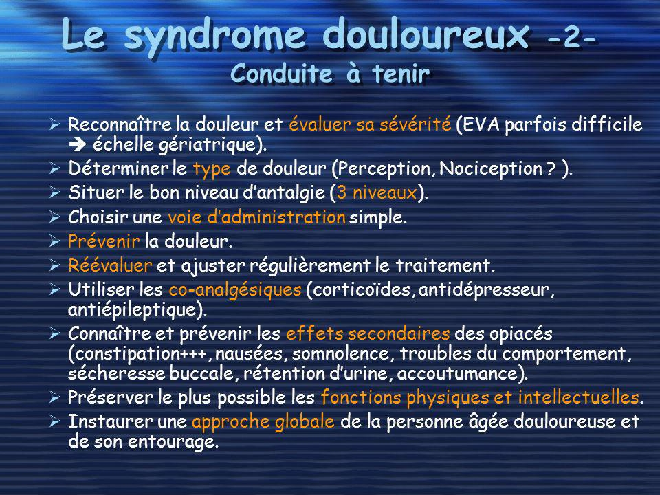 Le syndrome douloureux -2- Conduite à tenir