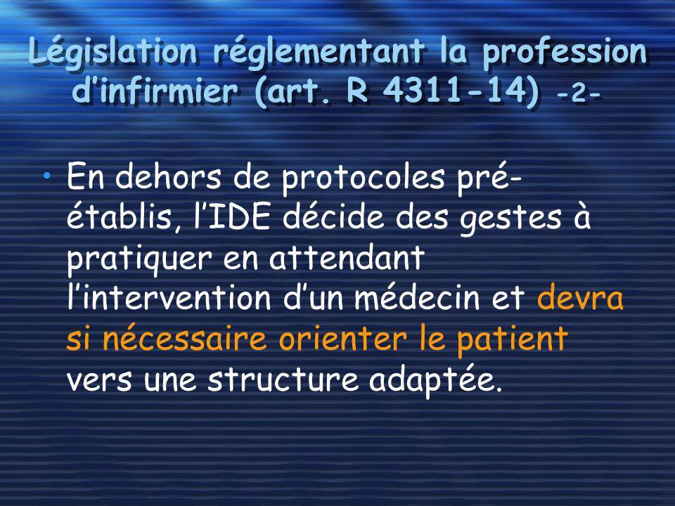 Législation réglementant la profession d'infirmier (art. R 4311-14) -2-
