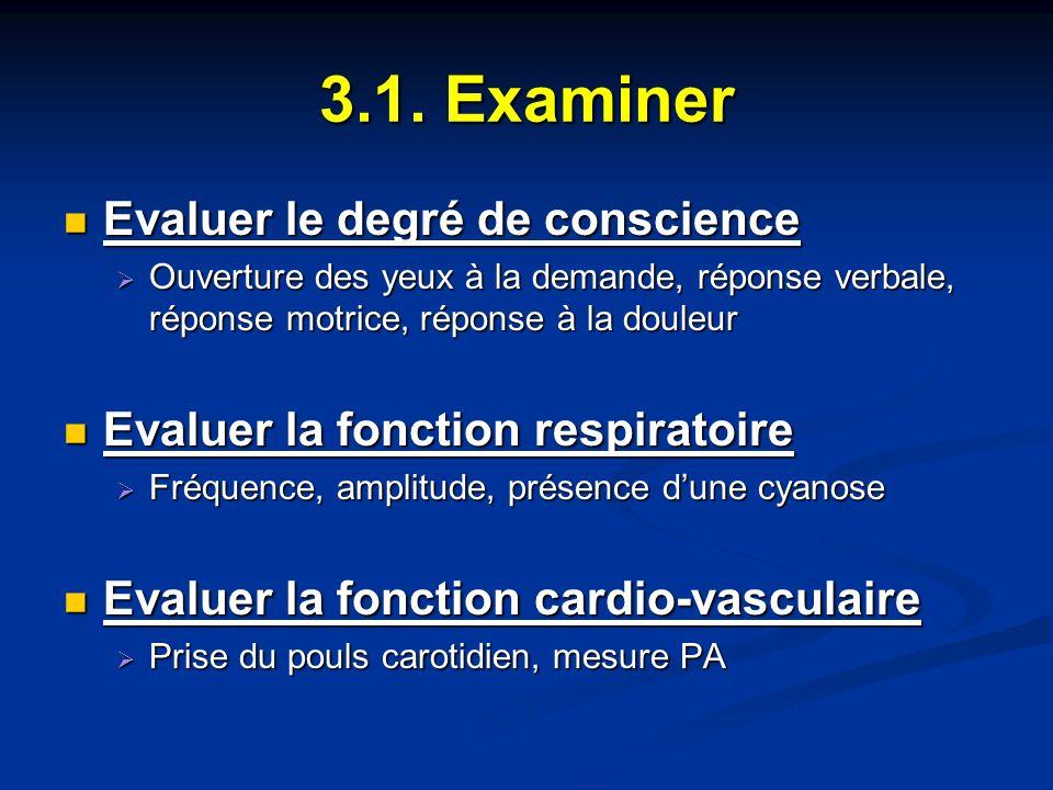 3.1. Examiner Evaluer le degré de conscience