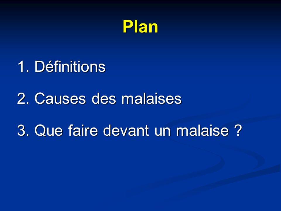 Plan 1. Définitions 2. Causes des malaises