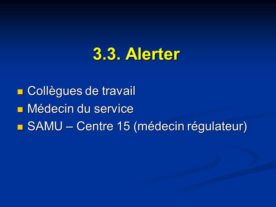 3.3. Alerter Collègues de travail Médecin du service