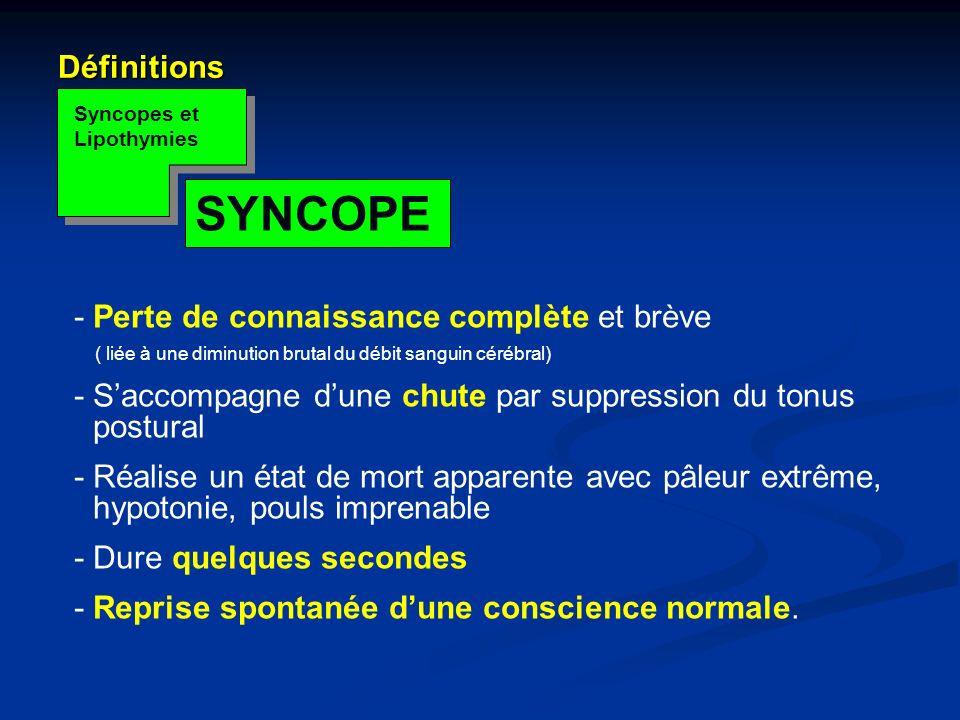 SYNCOPE Définitions - Perte de connaissance complète et brève