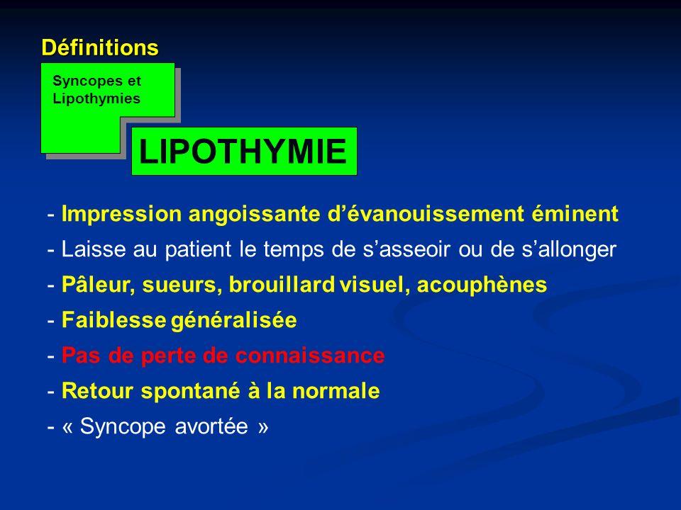 LIPOTHYMIE Définitions Impression angoissante d'évanouissement éminent