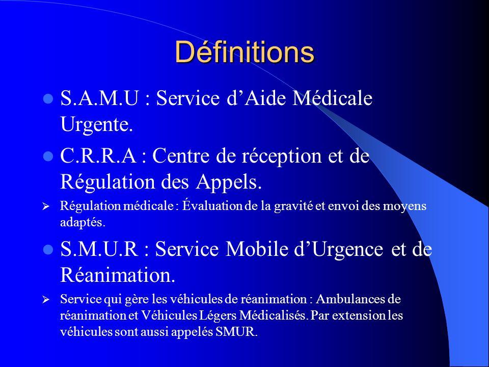 Définitions S.A.M.U : Service d'Aide Médicale Urgente.