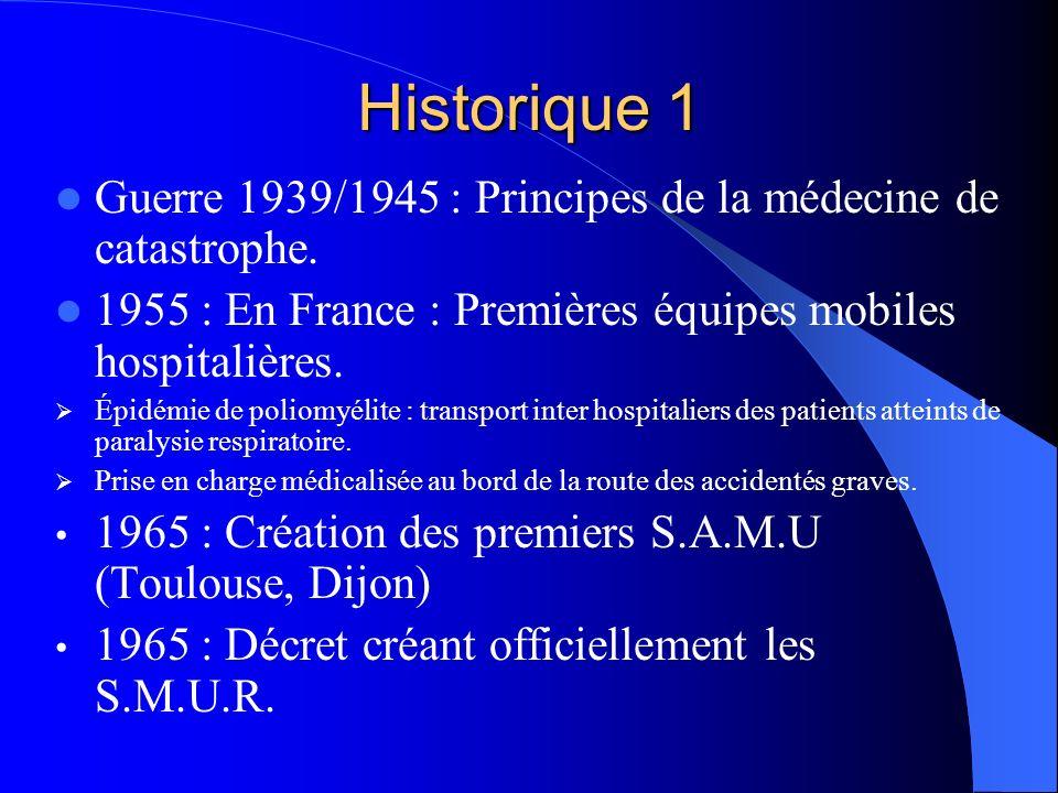 Historique 1 Guerre 1939/1945 : Principes de la médecine de catastrophe. 1955 : En France : Premières équipes mobiles hospitalières.