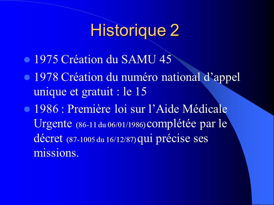 Historique 2 1975 Création du SAMU 45