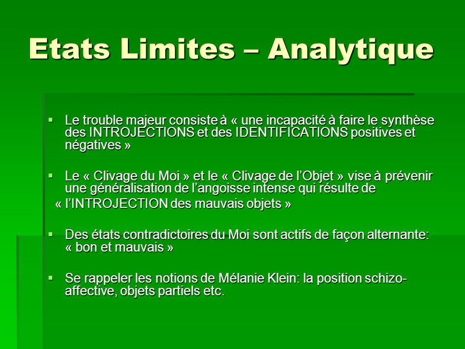 Etats Limites – Analytique