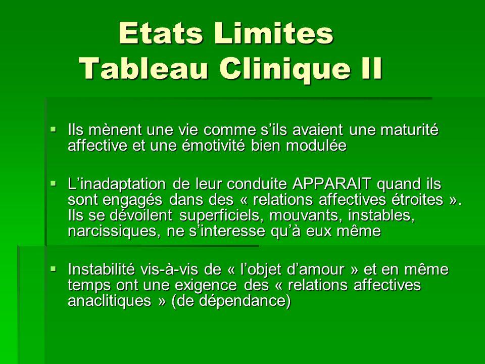 Etats Limites Tableau Clinique II