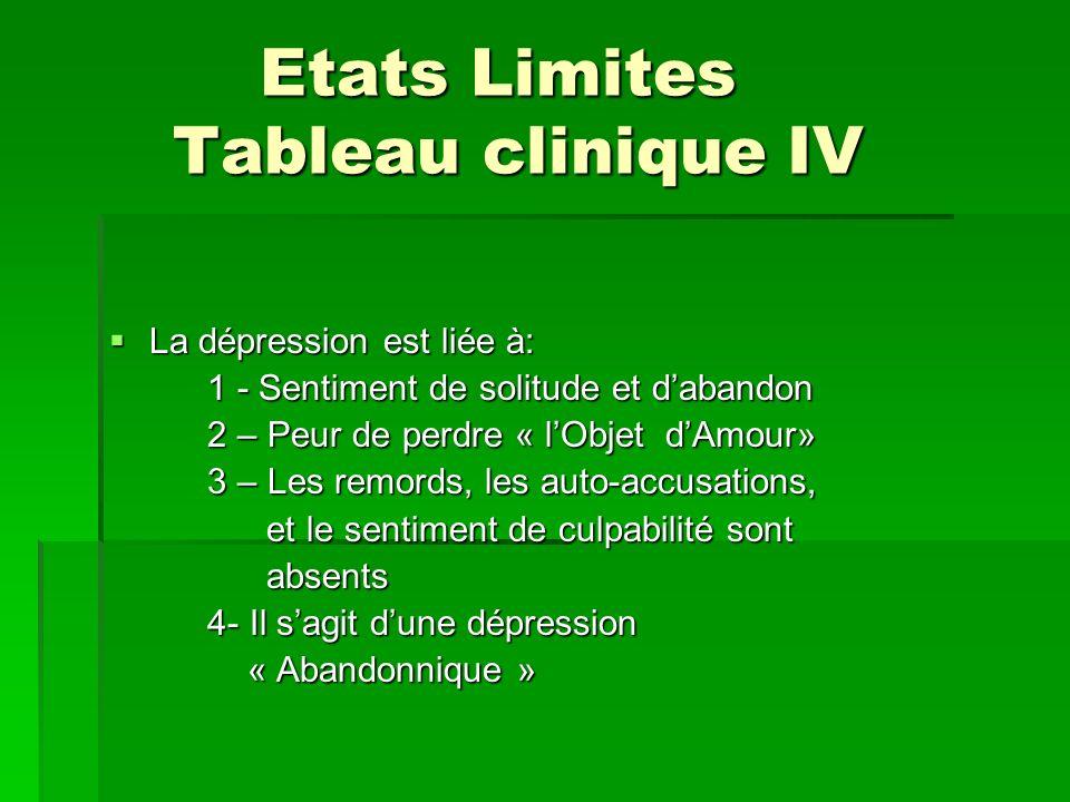 Etats Limites Tableau clinique IV
