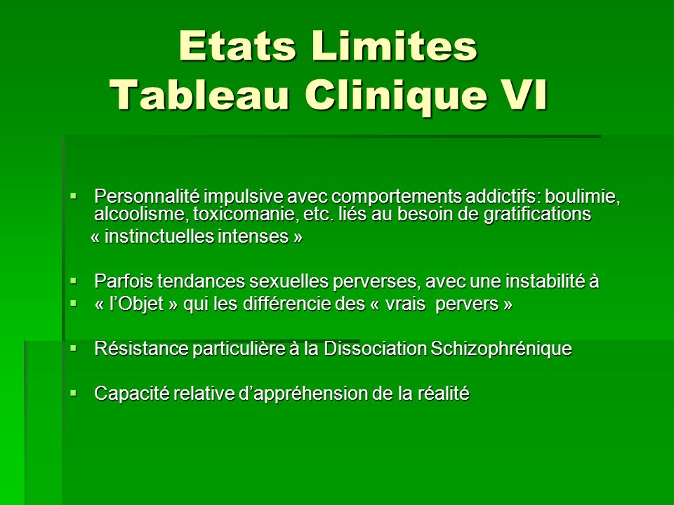 Etats Limites Tableau Clinique VI
