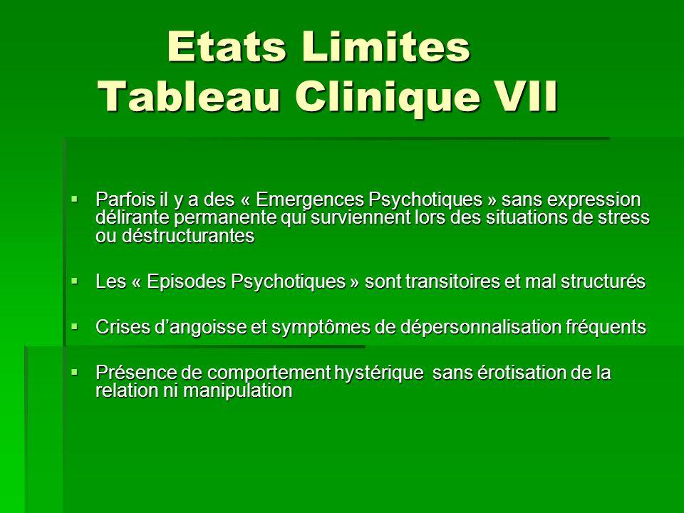 Etats Limites Tableau Clinique VII