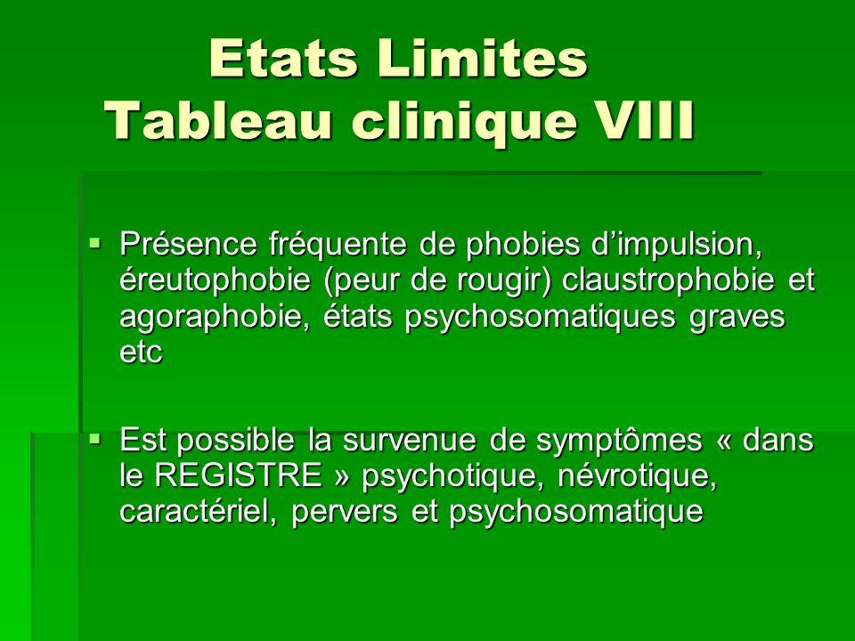 Etats Limites Tableau clinique VIII